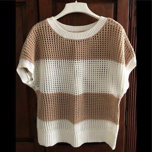 Short sleeve open weave sweater